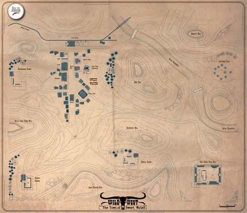 Wild West Frontier Town poster map